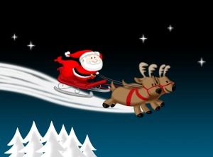 Santa Claus and his reindeer